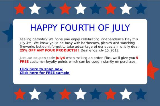 Fourth of July promotion starts NOW!
